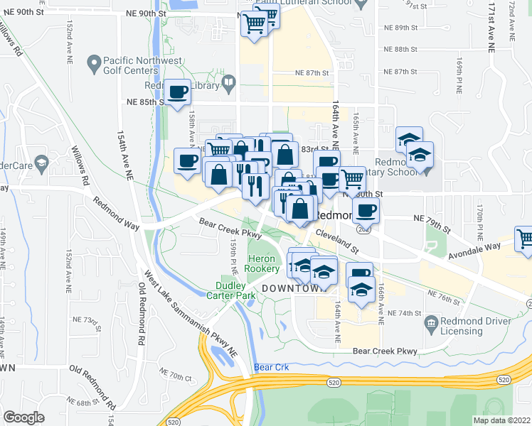 map of restaurants, bars, coffee shops, grocery stores, and more near 16015 Cleveland Street in Redmond