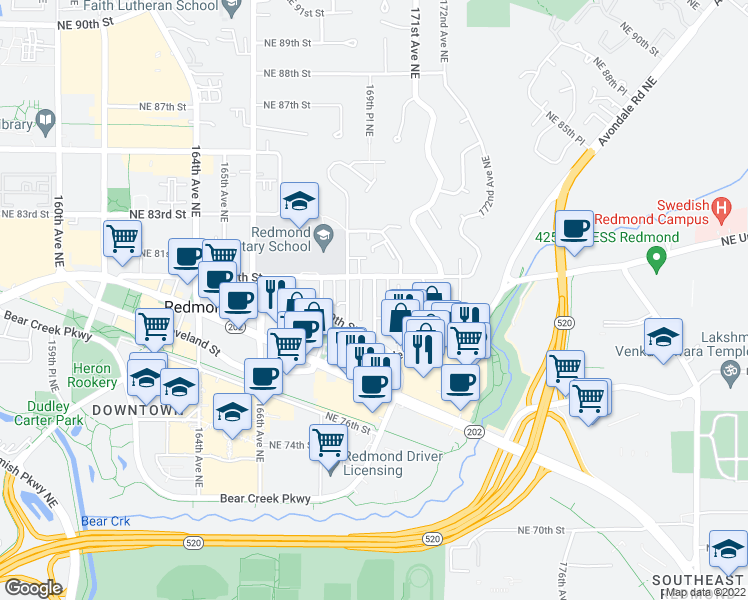 map of restaurants, bars, coffee shops, grocery stores, and more near 7977 170th Avenue Northeast in Redmond