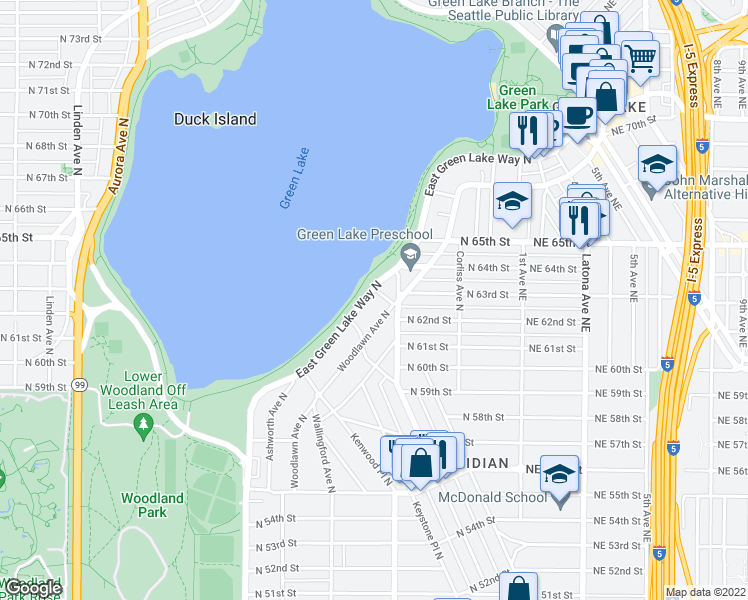 map of restaurants, bars, coffee shops, grocery stores, and more near 6228 East Green Lake Way North in Seattle
