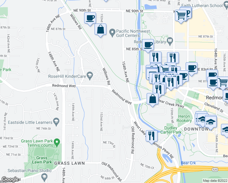 map of restaurants, bars, coffee shops, grocery stores, and more near 15325 Redmond Way in Redmond