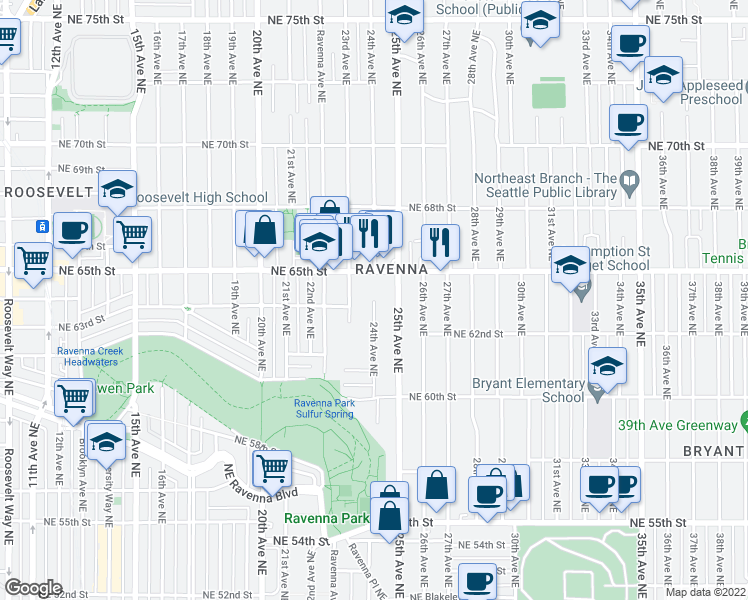 map of restaurants, bars, coffee shops, grocery stores, and more near 24th Avenue Northeast in Seattle