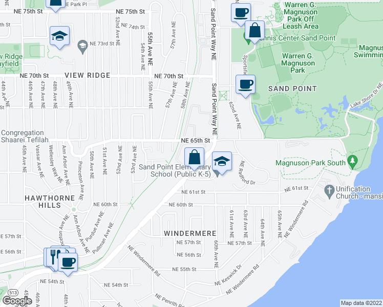 map of restaurants, bars, coffee shops, grocery stores, and more near 6301 Sand Point Way Northeast in Seattle