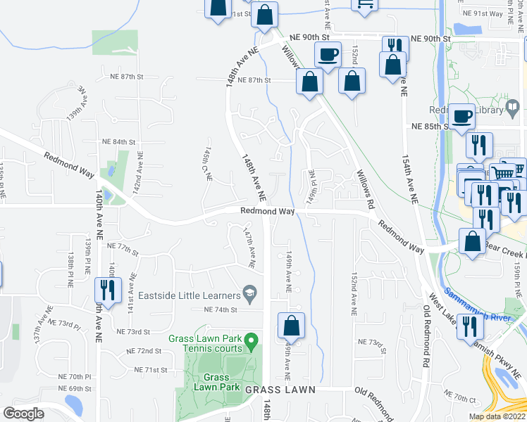 map of restaurants, bars, coffee shops, grocery stores, and more near 148th Ave NE & Redmond Way in Redmond