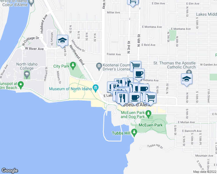 map of restaurants, bars, coffee shops, grocery stores, and more near 201 North 1st Street in Coeur d'Alene