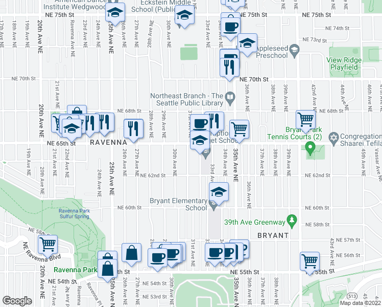 map of restaurants, bars, coffee shops, grocery stores, and more near 6242 31st Avenue Northeast in Seattle