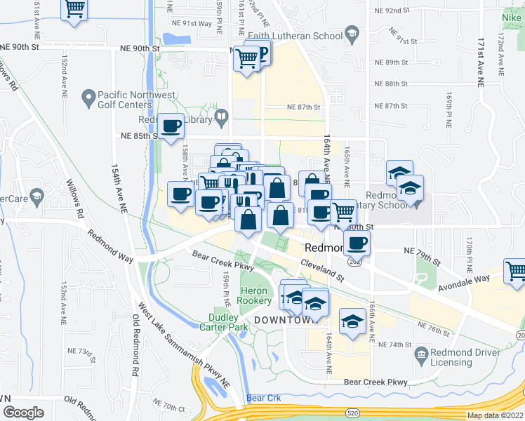 map of restaurants, bars, coffee shops, grocery stores, and more near 8000-8298 Lampaert Lane in Redmond