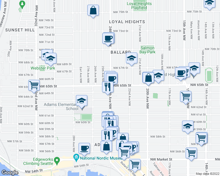 map of restaurants, bars, coffee shops, grocery stores, and more near 6450 24th Avenue Northwest in Seattle