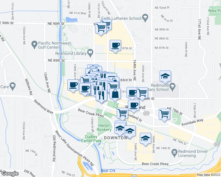 map of restaurants, bars, coffee shops, grocery stores, and more near 8102 161st Avenue Northeast in Redmond