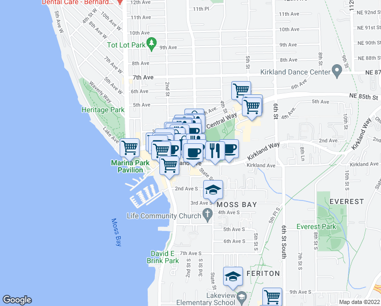 map of restaurants, bars, coffee shops, grocery stores, and more near 207 Park Lane in Kirkland