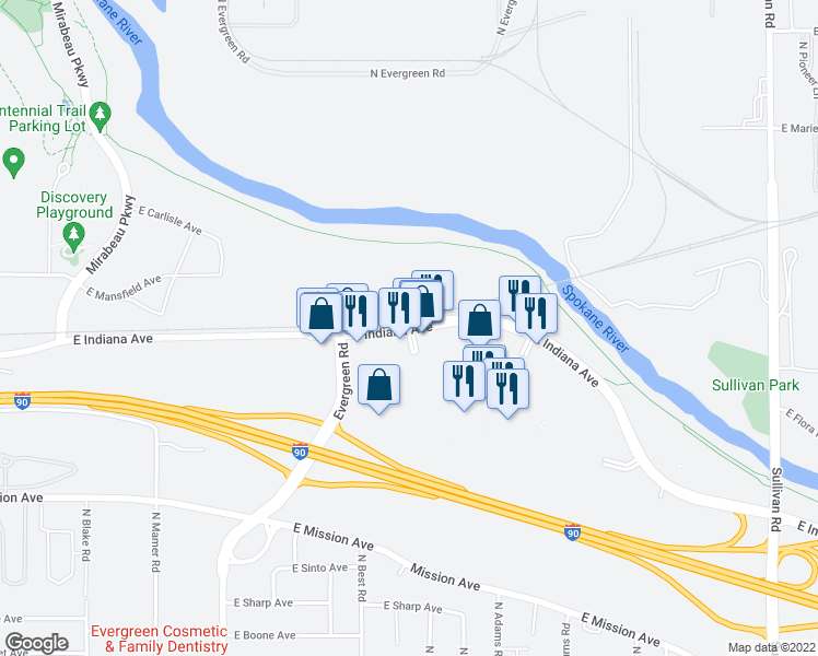 map of restaurants, bars, coffee shops, grocery stores, and more near in Spokane