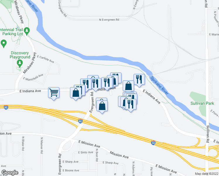 map of restaurants, bars, coffee shops, grocery stores, and more near 14404 East Indiana Avenue in Spokane Valley