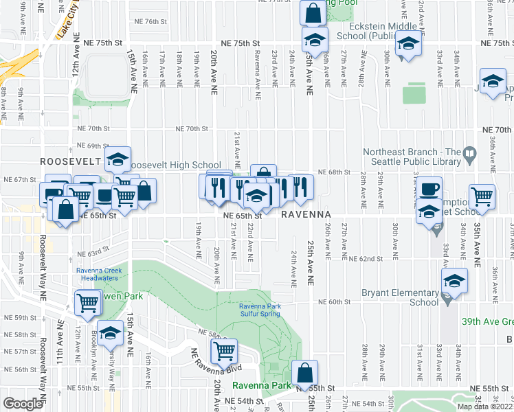 map of restaurants, bars, coffee shops, grocery stores, and more near 6517 Ravenna Avenue Northeast in Seattle