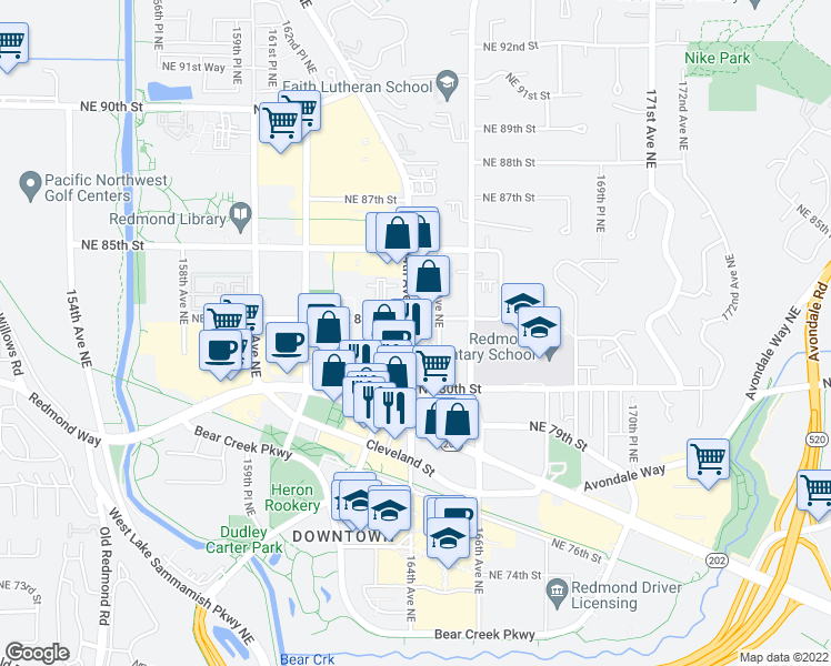 map of restaurants, bars, coffee shops, grocery stores, and more near 8280 164th Avenue Northeast in Redmond