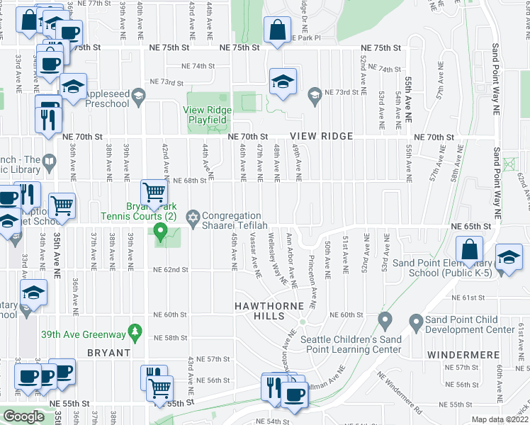 map of restaurants, bars, coffee shops, grocery stores, and more near 6516 47th Avenue Northeast in Seattle