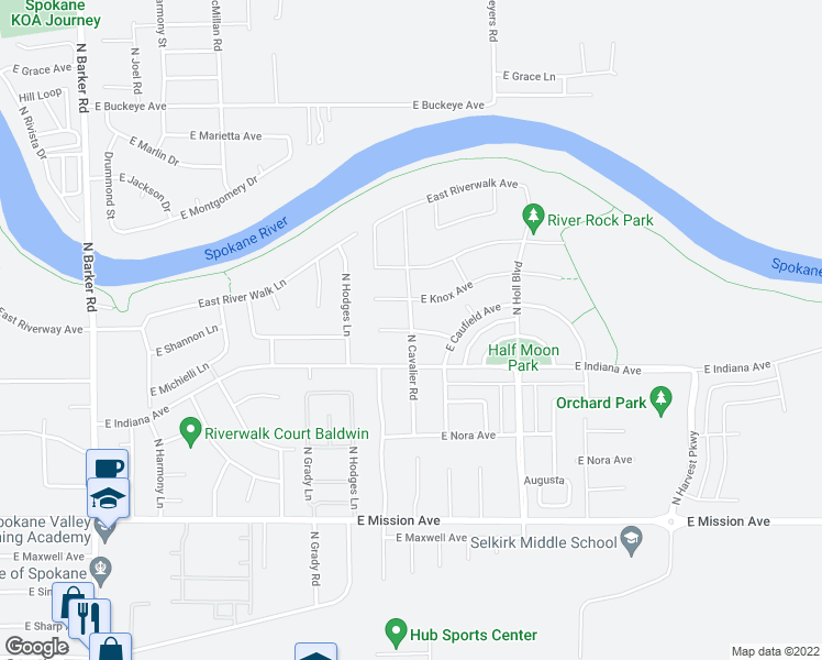 map of restaurants, bars, coffee shops, grocery stores, and more near Shannon in Liberty Lake