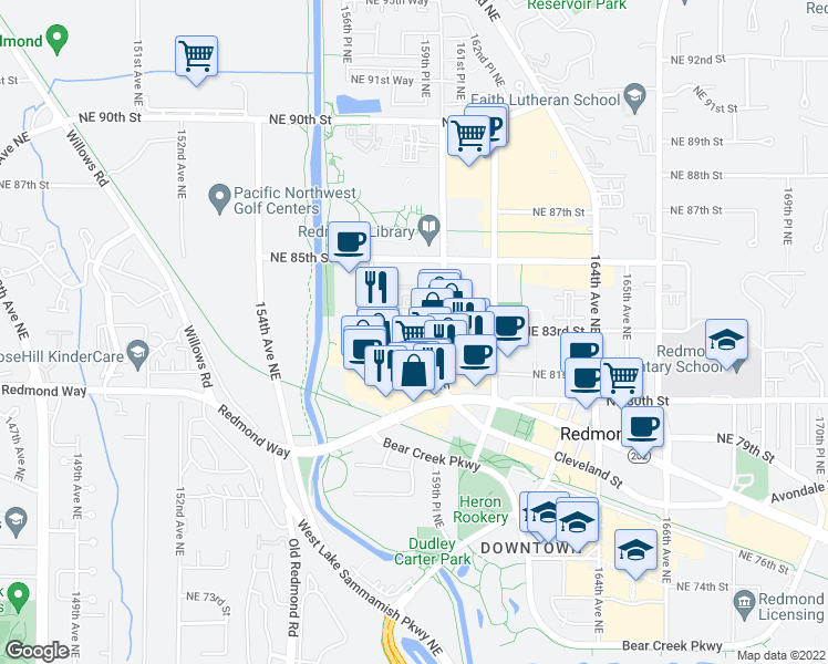 map of restaurants, bars, coffee shops, grocery stores, and more near 15782 Redmond Way in Redmond