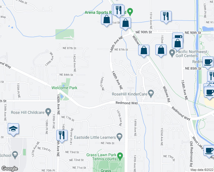 map of restaurants, bars, coffee shops, grocery stores, and more near 14618 Northeast 81st Street in Redmond