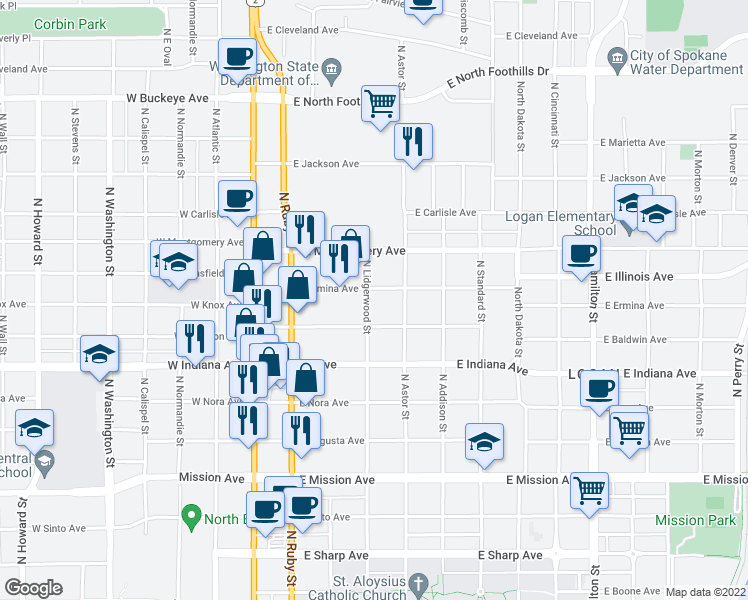map of restaurants, bars, coffee shops, grocery stores, and more near 302 East Ermina Avenue in Spokane