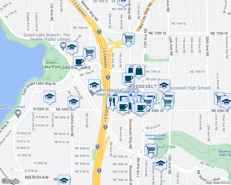 map of restaurants, bars, coffee shops, grocery stores, and more near 800 Northeast 67th Street in Seattle