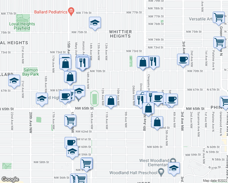 map of restaurants, bars, coffee shops, grocery stores, and more near 1015 Northwest 67th Street in Seattle