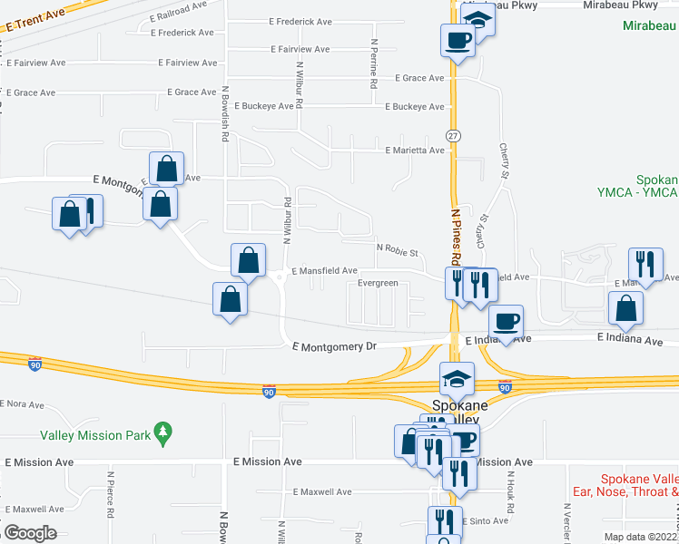 map of restaurants, bars, coffee shops, grocery stores, and more near 11920 East Mansfield Avenue in Spokane Valley