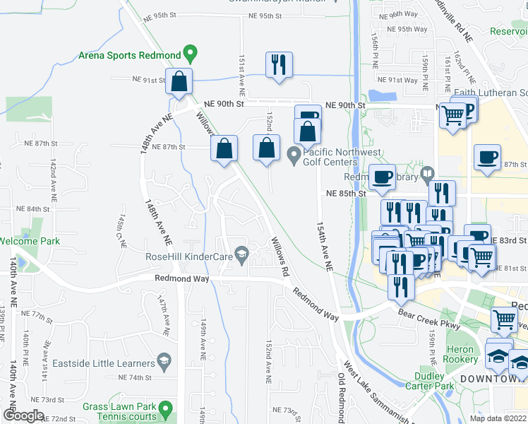 map of restaurants, bars, coffee shops, grocery stores, and more near Redmond Central Connector in Redmond