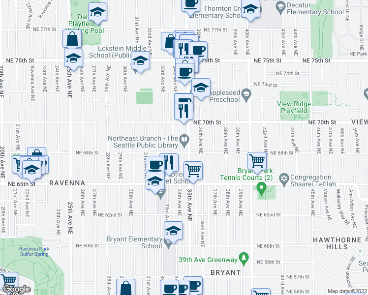 map of restaurants, bars, coffee shops, grocery stores, and more near 6801 35th Avenue Northeast in Seattle