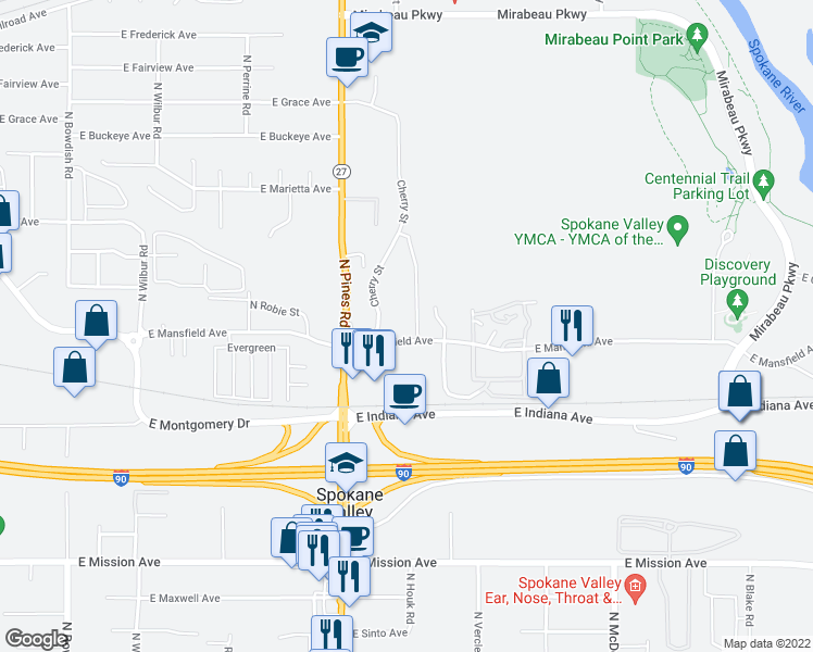 map of restaurants, bars, coffee shops, grocery stores, and more near 12423 East Mansfield Avenue in Spokane Valley