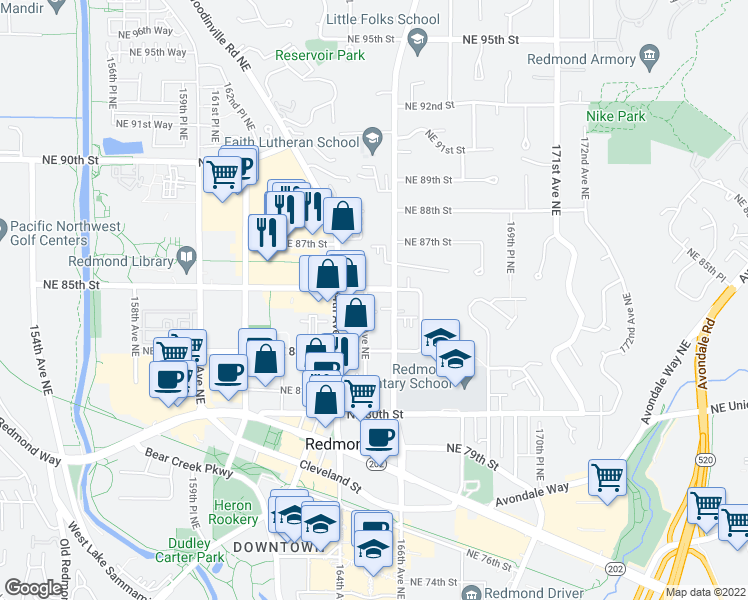 map of restaurants, bars, coffee shops, grocery stores, and more near 8410 165th Avenue Northeast in Redmond