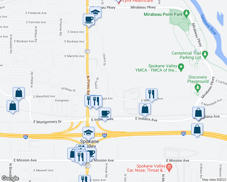 map of restaurants, bars, coffee shops, grocery stores, and more near 2215 N Houk Rd in Spokane