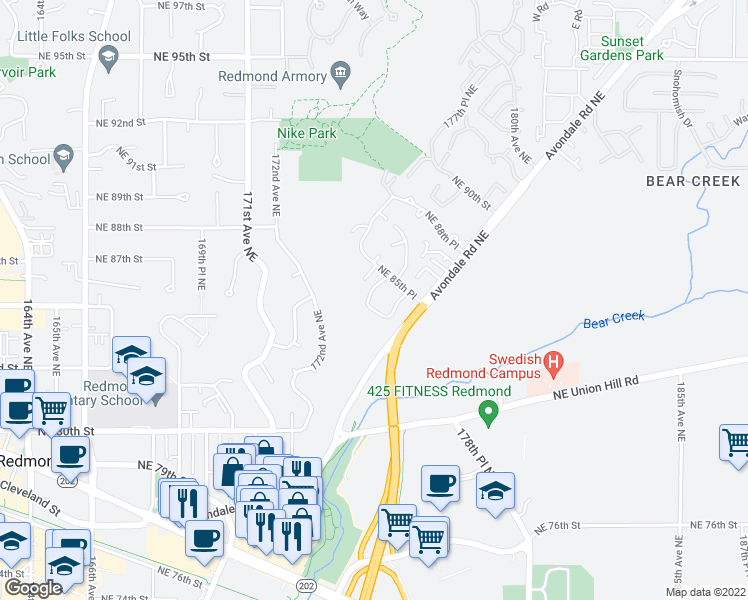 map of restaurants, bars, coffee shops, grocery stores, and more near 17325 Northeast 85th Place in Redmond