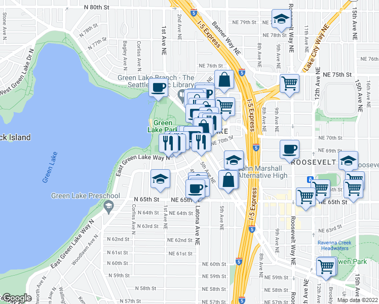 map of restaurants, bars, coffee shops, grocery stores, and more near 6900 East Green Lake Way North in Seattle