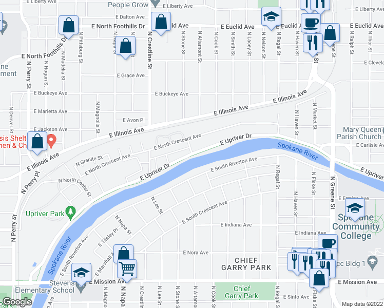 map of restaurants, bars, coffee shops, grocery stores, and more near East Upriver Drive & North Stone Street in Spokane