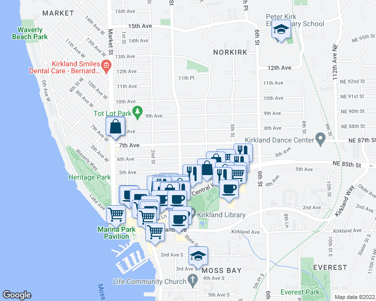 map of restaurants, bars, coffee shops, grocery stores, and more near 320 6th Avenue in Kirkland