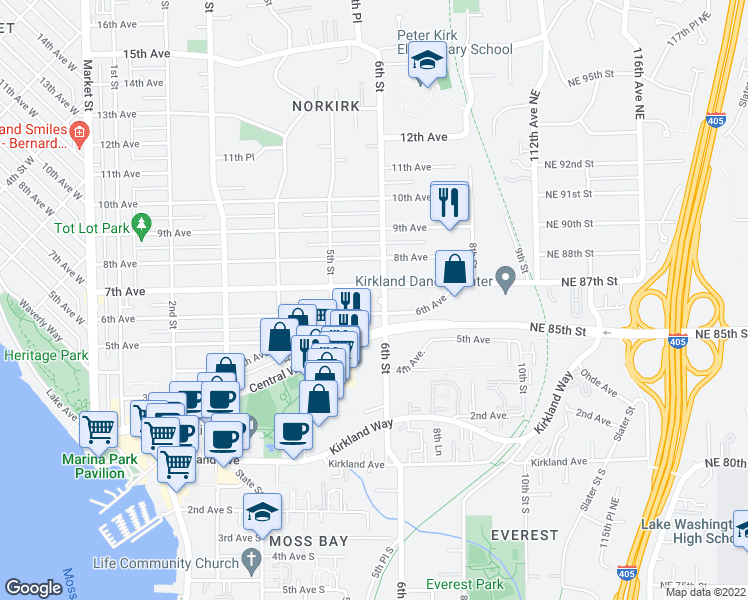 map of restaurants, bars, coffee shops, grocery stores, and more near 615 6th Street in Kirkland