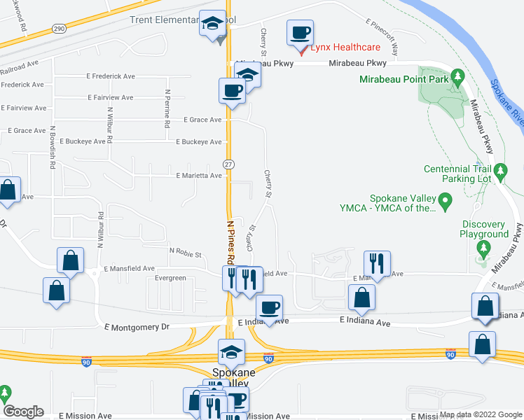map of restaurants, bars, coffee shops, grocery stores, and more near 2499 North Cherry Street in Spokane Valley
