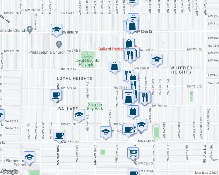 map of restaurants, bars, coffee shops, grocery stores, and more near NW 73rd St in Seattle