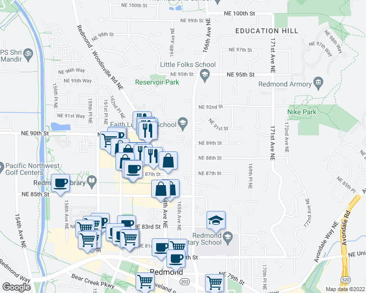 map of restaurants, bars, coffee shops, grocery stores, and more near 8839 166th Avenue Northeast in Redmond