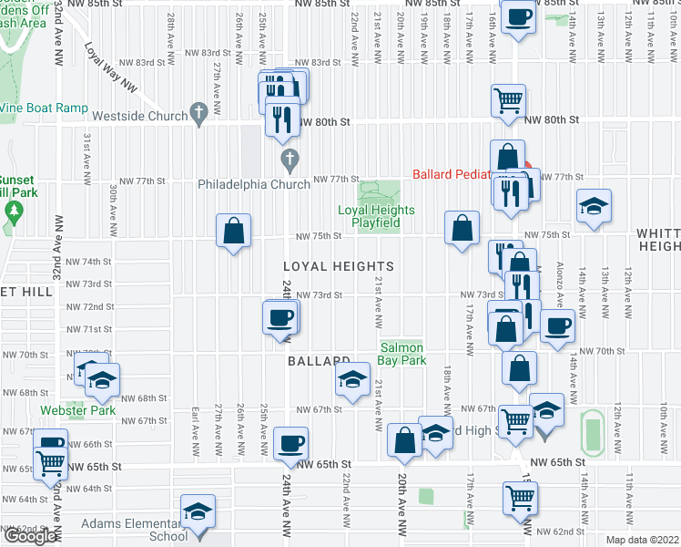 map of restaurants, bars, coffee shops, grocery stores, and more near 7322 23rd Ave NW in Seattle