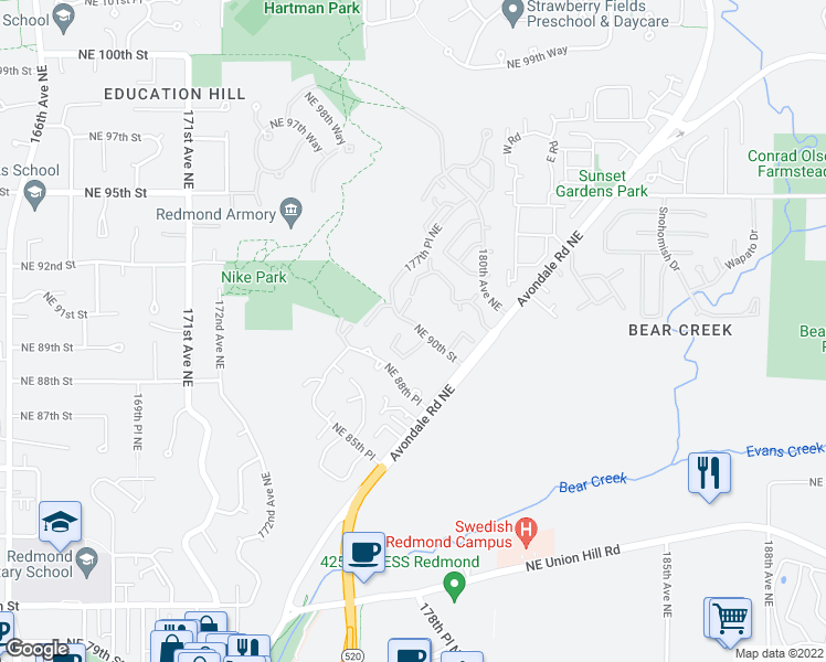 map of restaurants, bars, coffee shops, grocery stores, and more near 17766 Northeast 90th Street in Redmond