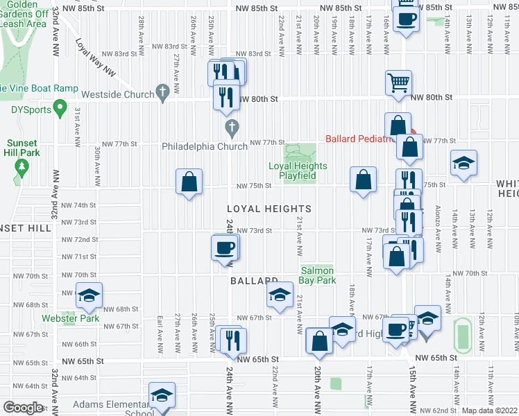map of restaurants, bars, coffee shops, grocery stores, and more near 7331 23rd Avenue Northwest in Seattle