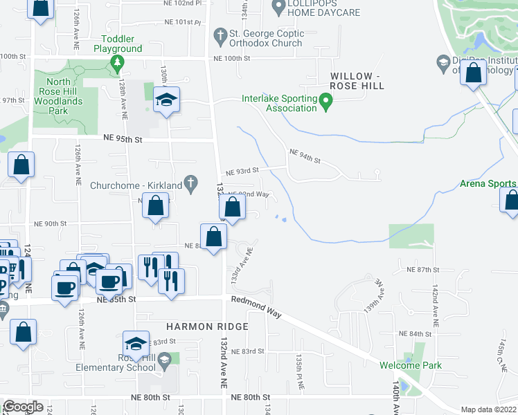 map of restaurants, bars, coffee shops, grocery stores, and more near 9016 132nd Avenue Northeast in Redmond