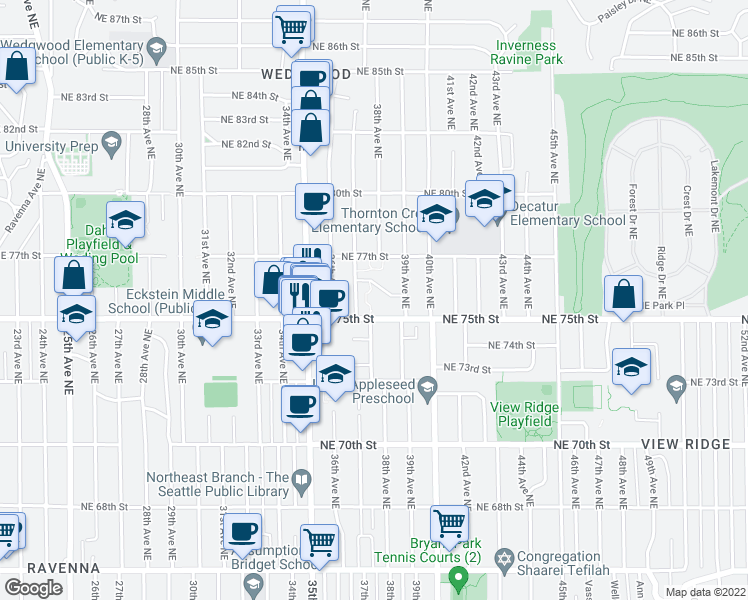 map of restaurants, bars, coffee shops, grocery stores, and more near 3716 Northeast 75th Street in Seattle