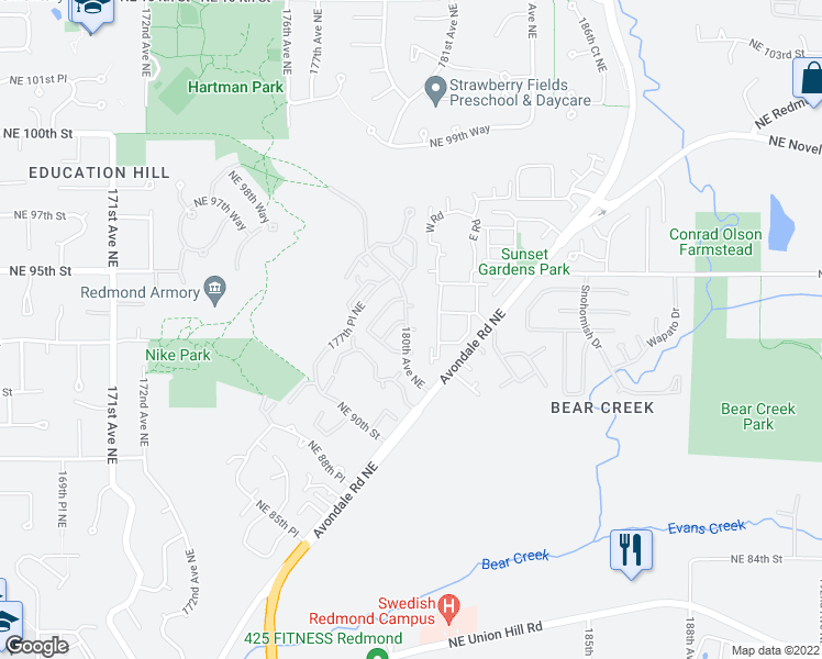 map of restaurants, bars, coffee shops, grocery stores, and more near 18007 Northeast 94th Court in Redmond