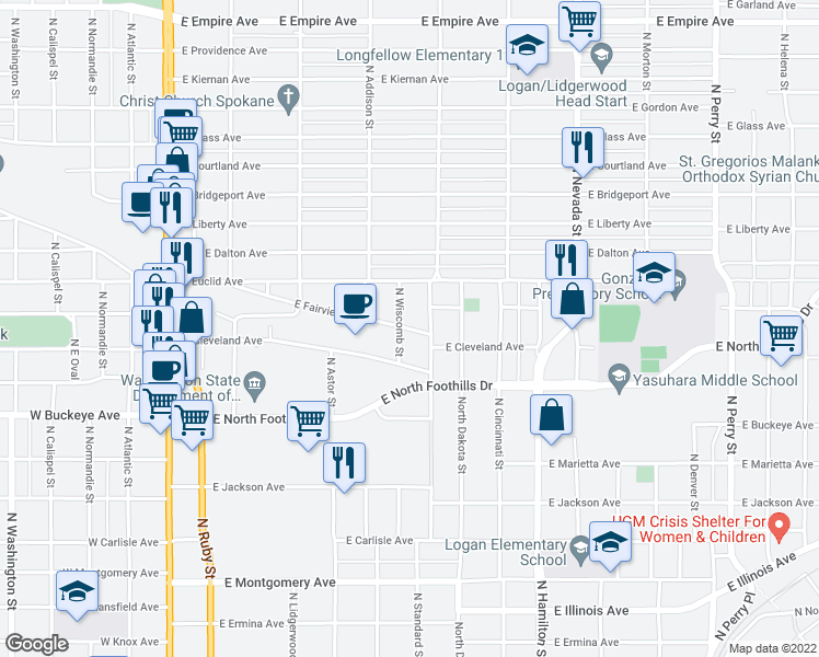 map of restaurants, bars, coffee shops, grocery stores, and more near 544-550 East Fairview Avenue in Spokane