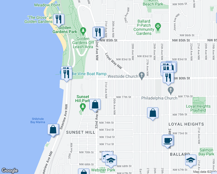 map of restaurants, bars, coffee shops, grocery stores, and more near 7732 31st Avenue Northwest in Seattle