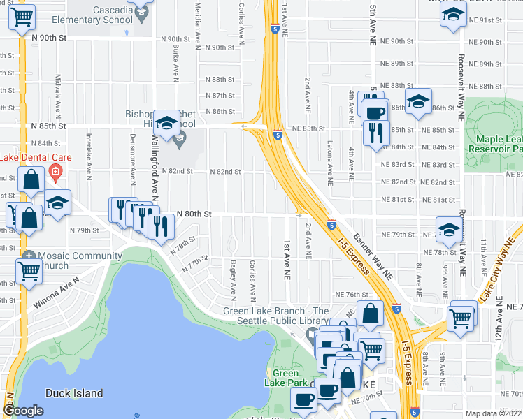 map of restaurants, bars, coffee shops, grocery stores, and more near 2322 North 80th Street in Seattle