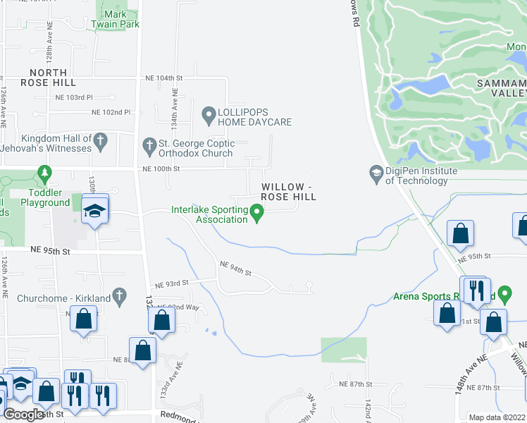 map of restaurants, bars, coffee shops, grocery stores, and more near 13853 Northeast 97th Street in Kirkland