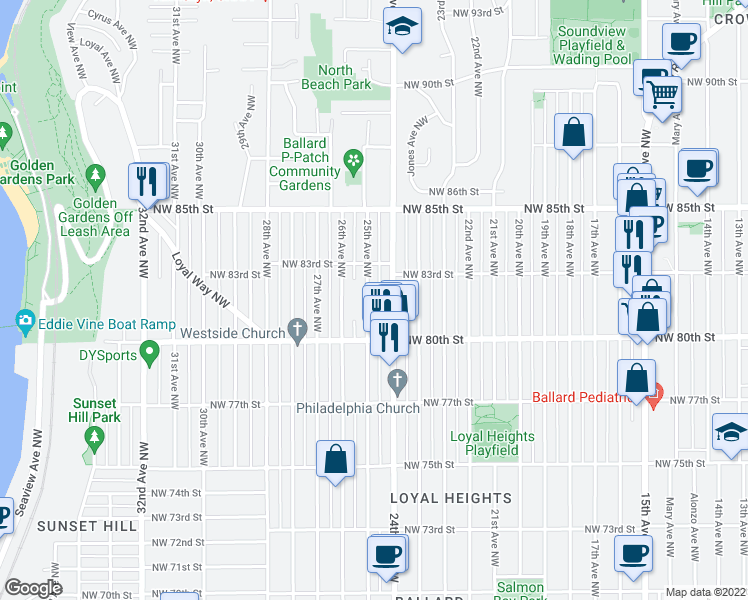 map of restaurants, bars, coffee shops, grocery stores, and more near 8036 25th Avenue Northwest in Seattle