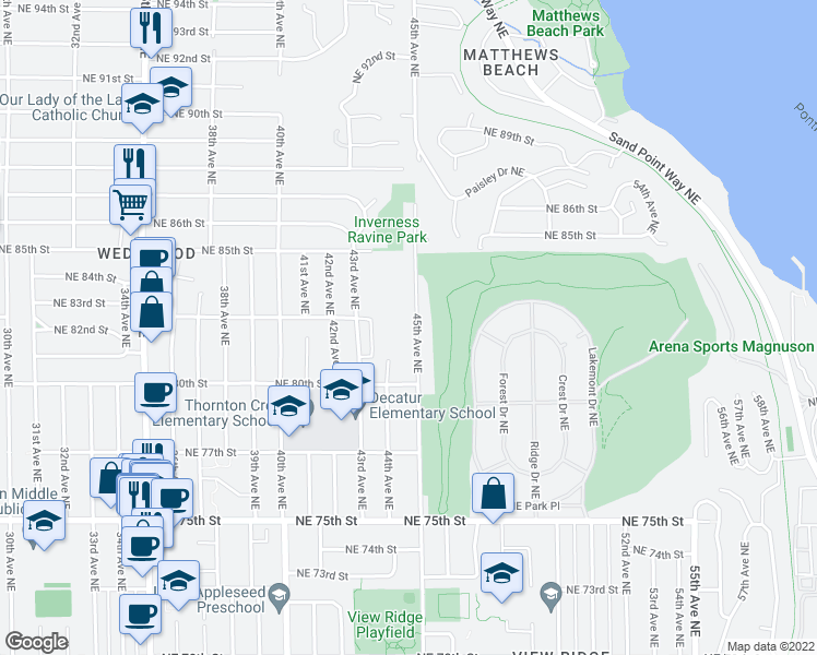 map of restaurants, bars, coffee shops, grocery stores, and more near 8055 45th Avenue Northeast in Seattle